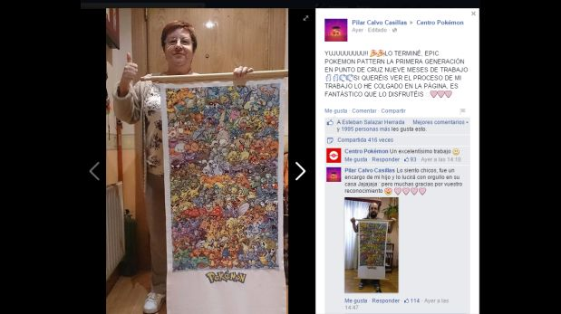 Madre tejió 151 pokémon en punto cruz por amor a su hijo